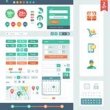 Beståndsdelar för vektor UI för rengöringsduk och mobil. Arkivfoto