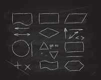 Beståndsdelar för vektorflödesdiagramdesign på svart tavla Arkivfoton