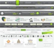 Beståndsdelar för webbplatsdesignmall Arkivfoto