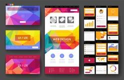 Beståndsdelar för för Websitedesignmall och manöverenhet Royaltyfria Bilder