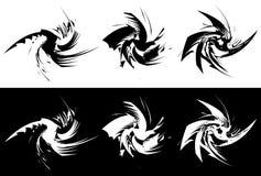 Beståndsdelar med roterande distorsion, spiral effekt Abstrakt geo vektor illustrationer