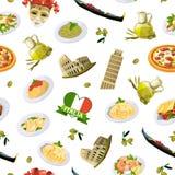 Beståndsdelar modell för kokkonst för vektortecknad film italienska eller bakgrundsillustration vektor illustrationer