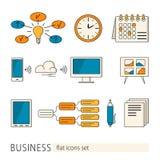 Beståndsdelar och begrepp av affären, kontorsarbete Royaltyfria Bilder