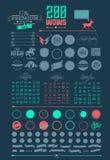 Beståndsdelar och symboler för Hipsterstilinfographics Arkivbilder