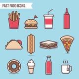 Beståndsdelar och symboler för snabbmatlägenhetdesign ställde in vektorn Pizza, varmkorv, hamburgare, taco, glass, Cola och munk Arkivbild