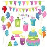 Beståndsdeluppsättning för lycklig födelsedag Arkivbilder