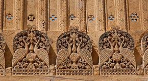 Beståndsdelyttersida i den Mandir slotten, Jaisalmer, Rajasthan, Indien Royaltyfria Foton