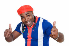 The best. Cuban black man showing sign okay on white Royalty Free Stock Photos