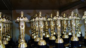 Best Actor Award Prize Trophies on Display. Best trophies awards for the best actors and actresses Royalty Free Stock Images