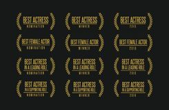 Best actress movie award winner  logo set. Movie award best leading supporting actress nomination winner black gold  icon set Stock Image
