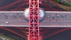 Red Zhivopisny Bridge in Moscow city, Unique quadcopter views. Eric sunset, Road Traffic. From above. Best aerial view ad Red Zhivopisny Bridge Unique quadcopter stock video