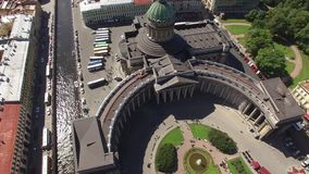 Best aerial view of Kazan cathedral in St. Petersburg. Beautiful drone flightover center of the city. Rooftops. Nevsky prospect. 4K footage stock footage