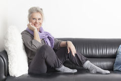 Best age woman relaxing Stock Image