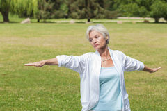 Best ager women practising yoga ant tai chi Stock Photos