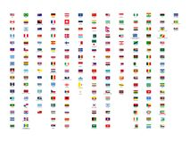 194 vector  best all continents world flags collection with country names Royalty Free Stock Image