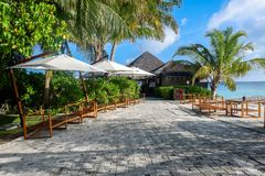 Best all-inclusive Maldives water-villa resorts in Maldives. This photo was taken in Maldives. All-inclusive resorts provide that wonderful feeling of luxury Royalty Free Stock Photo