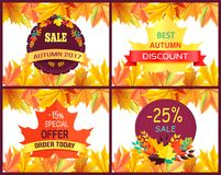 Best Autumn 2017 Discount Vector Illustration. Best autumn 2017 discount poster with sale advertising decorated with orange foliage. Vector illustration with Stock Photos