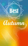 The best autumn. Best autumn lettering on an orange background with lines Vector Illustration
