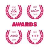 Best award gold award laurel wreath set. Winner label, leaf symb. Ol victory Stock Photos