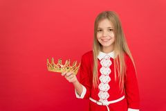 Best award for me. Kid hold golden crown symbol of princess. Happy childhood concept. Every girl dreaming become. Princess. Lady little princess. Girl cute royalty free stock photos