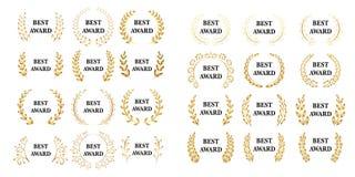 Best award mega set. Vector gold award laurel wreath. White version. Isolated  illustrations. Best award mega set. Vector gold award laurel wreath. White Royalty Free Stock Image