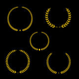 Best award Vector gold award laurel wreath set. Winner label, leaf symbol victory, triumph and success illustration. Stock Images