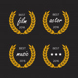Best award Vector gold  laurel wreath set. Winner label, leaf symbol victory. Best award Vector gold award laurel wreath set. Winner label, leaf symbol victory Stock Photos