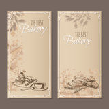 Best bakery cards. Menu cards sketch. Best bakery cards. Menu cards for bread products of the restaurant, cafe or bakery with hand drawn sketches. Vector Royalty Free Stock Photo