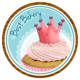 A best bakery label with a cake. Illustration of a best bakery label with a cake on a white background royalty free illustration