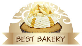 A best bakery label with a cupcake Royalty Free Stock Photo