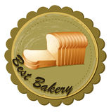 A best bakery label with fresh sliced breads Royalty Free Stock Image
