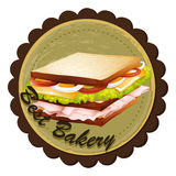 A best bakery label with a sandwich Stock Photos