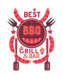 Best BBQ grill funny flat hand drawn vector color icon royalty free illustration