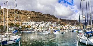 Best beaches of Gran Canaria - picturesque marina and town Puerto de Mogan, Canary islands royalty free stock photography