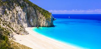 Best beaches of Lefkada island - Milos. Ionian islands of Greece royalty free stock images