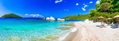 Best beaches of Skopelos island ,Milia beach. Sporades stock photos