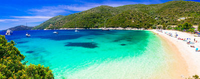 Best beches of Lefkada island - Mikros Gialos. Beautiful Greece Stock Image