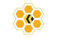Best bee hive logo. Logo design of a bee hive stock illustration