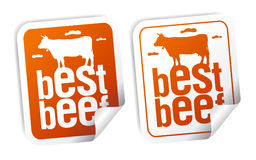 Best beef stickers. Best beef for steak stickers set Royalty Free Stock Images