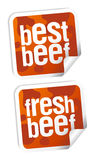 Best beef stickers. Best beef for steak stickers set Royalty Free Stock Photography