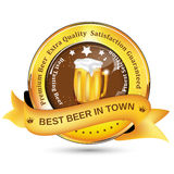 Best Beer in Town label with mug beer. Royalty Free Stock Image
