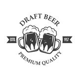 Best Beer. Vintage craft beer retro design element,  two beer mu Royalty Free Stock Photography