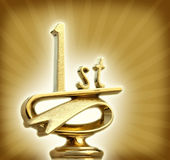 Best of the Best. Golden first place trophy shines Royalty Free Stock Images