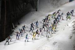 30 best biathlete compete in the biathlon men`s 15km mass start at the 2018 Winter Olympics. PYEONGCHANG, SOUTH KOREA  FEBRUARY 18, 2018: 30 best biathlete Stock Photo