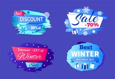 Best Big Winter 2017 Sale Vector Illustration. Best big winter 2017 sale clearance on set of four colorful signs on blue background. Vector illustration with Royalty Free Stock Photos