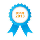 Best of 2013. Blue best of 2013 badge with ribbon Stock Images
