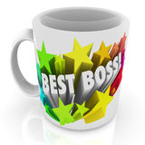 Best Boss Coffee Mug Top Leader Manager Supervisor Prize. Best Boss words on a white ceramic coffee cup or mug as prize for the top leader, manager, employer Royalty Free Stock Photos