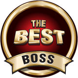 THE BEST BOSS shiny gold badge sign. Royalty Free Stock Photos