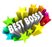 Best Boss Words Stars Celebrate Top Leader Manager Employer Exec. Best Boss words surrounded by colorful fireworks or stars to recognize the top leader, manager Stock Photos