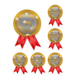 Best Brand and 100 Original Seal. Six badge with gold color and red ribbon vector illustration